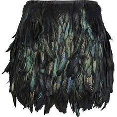 Preto galo coque comprimento da saia de penas mini, tecido camada totalmente forrado, transporte livre # 781