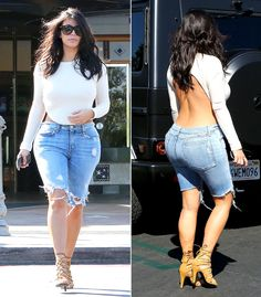 Kim Kardashian highlighted her famous curves in a white backless top and super-tight jean shorts on Sunday, Oct. 19, in Calabasas, Calif.