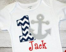 Boys or Girls Chevron Anchor Nautical Birthday Applique Shirt-- Navy Chevron Birthday- Photo Prop, Cake Smash, First Birthday Shirt
