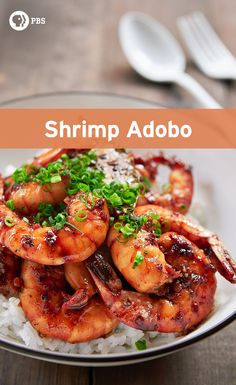 This shrimp adobo balances savory and sour with the creeping heat from the black pepper.
