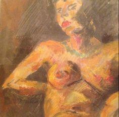 Desnudo femenino, técnica mixta