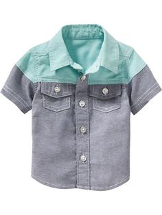 For family pics this summer. Color-Block Chambray Shirts for Baby