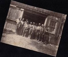Antique Photograph Little Boy With Men Standing in Front of Old Barn On Farm