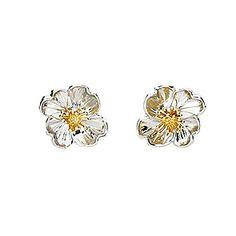 Silver & Gold Vermeil Primrose Earrings #Gold #Silver #SterlingSilver #Earrings #StudEarrings #SilverEarrings #Primrose #Flower #FlowerEarrings