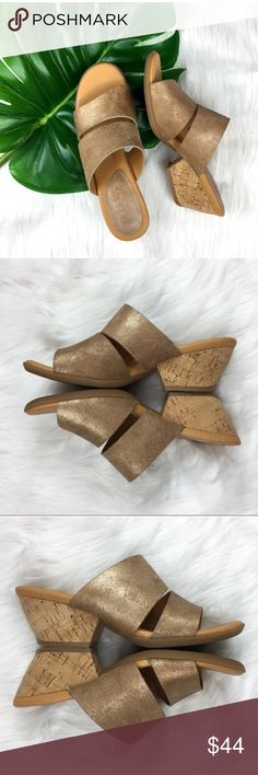 Korks Kork-Ease Gold Leather Double Strap Heels Korks Kork -Ease gold leather double strap heels. Size 7. Pre-owned condition with wear to them. Small flaw on toe as pictured. No box.  ❌I do not Trade 🙅🏻 Or model💲 Posh Transactions ONLY Kors Shoes Heels