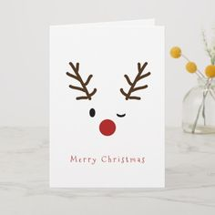 noel card Cute Winking Rudolf Reindeer Christmas Holiday Card christmascardshandmadekids Source by fabiolaburghard Simple Christmas Cards, Christmas Card Crafts, Homemade Christmas Cards, Homemade Cards, Christmas Holidays, Reindeer Christmas, Christmas Cards Handmade Kids, Happy Holidays, Chrismas Cards