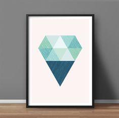 Abstract shape, Minimalist art poster, Geometric print, Nordic design, Modern wall art, Mid century modern Scandinavian print Diamond #011 - pinned by pin4etsy.com