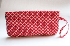 Wristlet Clutch Purse - Red Flower Geometric by LovelyTurtle, $22.00
