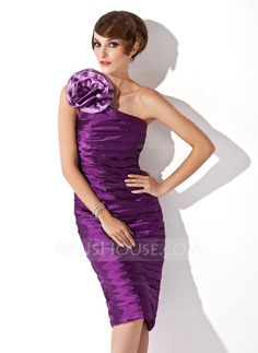 Cocktail Dresses - $139.99 - Sheath One-Shoulder Knee-Length Charmeuse Cocktail Dress With Ruffle Sash Flower(s) (016021149) http://jjshouse.com/Sheath-One-Shoulder-Knee-Length-Charmeuse-Cocktail-Dress-With-Ruffle-Sash-Flower-S-016021149-g21149