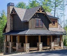 Plan Wrap-Around-Veranda - New Decoration Small Cottage Homes, Cottage House Plans, House 2, Cabin Homes, Log Homes, The Plan, How To Plan, Plan Chalet, Mountain House Plans