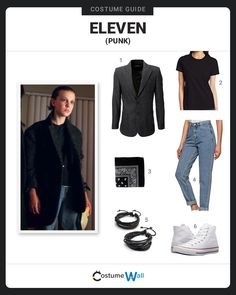 """Things ropa The best costume guide for dressing up like the alternate """"punk"""" look of Eleven . The best costume guide for dressing up like the alternate """"punk"""" look of Eleven from season two of the Netflix series Stranger Things. Nancy Stranger Things, Eleven Stranger Things Costume, Stranger Things Halloween Costume, Stranger Things Netflix, Stranger Things Season, Eleven Halloween Costume, Punk Costume, Cool Costumes, Cosplay Costumes"""