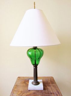 Vintage Lamp EMERALD Glass Brass and by ReArcade, $295.00