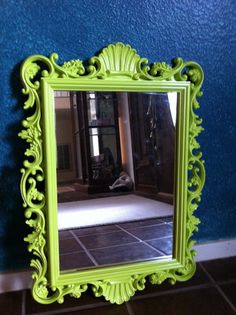 Upcycled Vintage Mirror In Lime, Funky Home Decor, Hollywood Regency