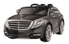 1234-Buy Mercedes S Class Licensed Kids Ride on 12V Twin Motors Electric Car + Leather Seat + Open Able doors + Soft Tyres + parental remote control + LED Lights + sounds volume control, available in colour White, Black and Red (Black)