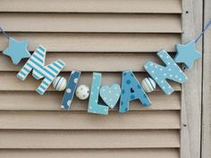 """MILAN"" WOODEN WALL DOOR LETTERS BABY NAME SHOWER NURSERY DECOR SHABBY CHIC  #NostalgieSpiel"