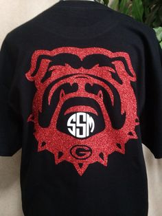 Georgia Bulldog Monogram Shirt by CarolinaSilhouettes on Etsy