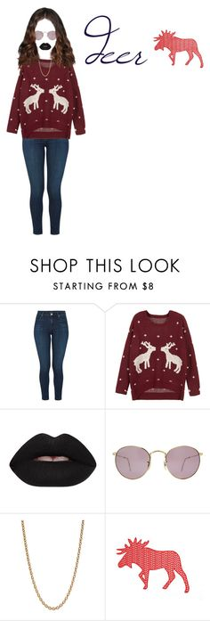"""""""deer"""" by kyla-408 ❤ liked on Polyvore featuring J Brand, WithChic, Lime Crime, Ray-Ban and Givenchy"""