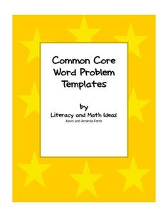 The Common Core Standards can be intimidating for some students.  In fact word problems can be intimidating for many students too.  The free templa...