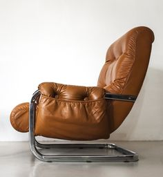Anonymous; Chromed Metal and Leather lounge Chair, c1970.