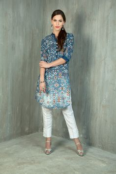 Denim ikat digital print kurti