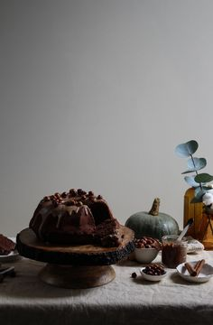 Chocolate pumpkin cake with hazelnut praline frosting.