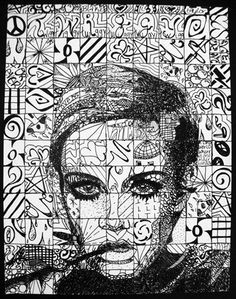 This piece of art represents a portrait made with a grid and different textures in each grid square.