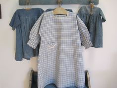 AUTHENTIC Old Primitive Child's BLUE WHITE Homespun  Fabric Dress with Buttons. shop2loveit