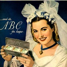 vintage 1946 bride weddings advertisement by FrenchFrouFrou, $12.95