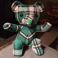 This adorable Cape Breton tartan bear is making me nostalgic for the East Coast. www.etsy.com/ca/listing/225636527 Save your baby's favourite sleepers, coming-home outfit or blanket forever by having them made into a one of a kind keepsake teddy bear!  I can make a keepsake bear from something as small as a newborn sized sleeper, though I may need to supplement with a small amount of complementary fabric.
