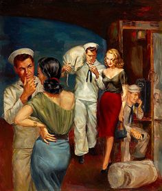 """Herbert Tauss    Shore leave is off to a good start, at least for two out of three. This painting was on the cover of the paperback """"Sailor's Weekend"""" by Whit Harrison in 1952."""