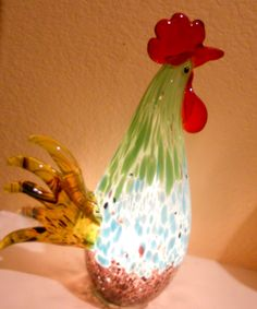 Art Glass Rooster Accent Lamp Night Light