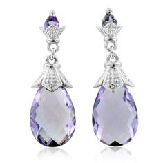 Natural Amethyst Briolette Drop Earrings in Sterling Silver, 9.05 cttw. These delightful amethyst briolette drop earrings are beautifully crafted in gleaming sterling silver with two 14 x 9 mm pear shaped vivid purple briolette amethyst dangling gorgeously below amethyst studs. These lovely drop amethyst earrings showcase intricate romantic details. Add a touch of elegance to any outfit with these softly feminine drop amethyst earrings. Amethyst is the February birthstone. Birthstone jewelry…