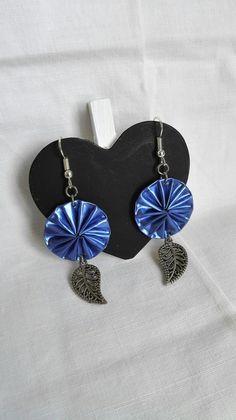 Boucles d'oreilles cabochons Nespresso bleues féériques et feuilles argentées…