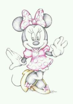 disney, drawing, and minnie mouse image