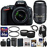 #4: Nikon D5500 Wi-Fi Digital SLR Camera & 18-55mm G VR DX (Black) with 55-300mm VR Lens  64GB Card  Backpack  Battery & Charger  Wide/Tele Lens Kit