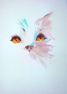 DESSIN chat aquarelle animeaux - chat                                                                                                                                                                                 Plus