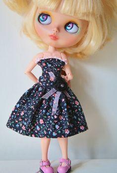 Beautiful Blythe  Summer Dress  black floral by bravuradolly, £12.00