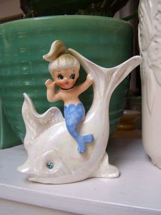 1950 Norcrest Japan Mermaid Fish Ceramic Bathroom by PlantDreaming Mermaid Bathroom, Bathroom Wall, Mermaid Board, Mermaid Fairy, Vintage Mermaid, Mermaids And Mermen, Merfolk, Monster, Wall Plaques