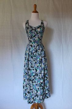 Vintage LAURA ASHLEY 1980's goes 1950's Atomic Lattice strap Petunia Dress 6 #LauraAshley