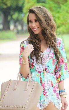 Floral Lace Trim Romper, Studded Handbag, Jack Rogers Georgica Sandals, MIchael Kors Watch, Kendra Scott Earrings