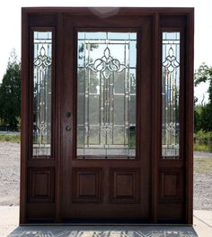 Exterior Mahogany Doors with 2 Sidelights. Solid Mahogany Doors and sidelights with hundreds of prehung combinations. Exterior Doors With Sidelights, Exterior Entry Doors, Exterior Doors With Glass, Entrance Doors, Door Entry, Doorway, Garage Doors, Entryway, Stained Front Door