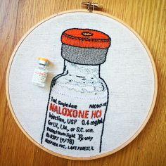 Naloxone (Narcan) embroidery by Maggie Mayhem. Overdose prevention & response!