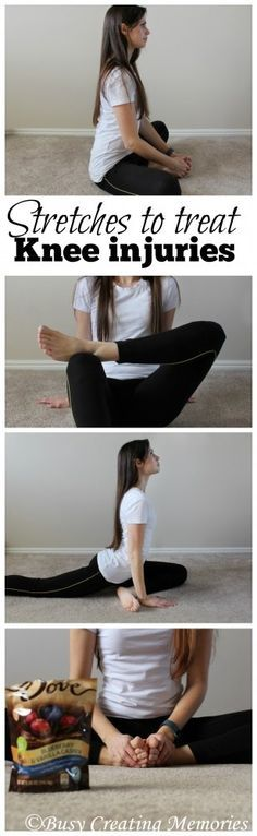 Alasadi show youThese four hip stretches help prevent and treat knee pain and knee injuries. And after you treat your knees, treat yourself with DOVE® Chocolate Fruit & Nut! Knee Strengthening Exercises, Knee Stretches, Flexibility Exercises, Band Exercises, Weight Exercises, Chiropractic Treatment, Chiropractic Care, How To Strengthen Knees, Knee Pain Relief