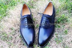 Free shipping custom adhesive craft handmade pure genuine calf leather men's dress oxford color navy shoe No.OX158 Toe Shoes, Shoes Men, Dress Shoes, Calf Leather, Leather Men, Leather Shoes, Navy Blue Shoes, Stylish Man, Formal Shoes