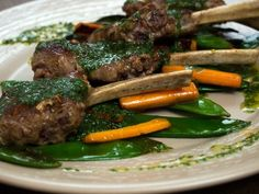 Lamb with mint sauce.