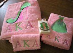 AKA Decorative Bath Towel Sets at personalbuy.com. Aka Sorority, Alpha Kappa Alpha Sorority, Sorority Life, Pretty Girl Rock, Pretty In Pink, Pretty Girls, Aka Paraphernalia, Everything Pink, Girls Wear