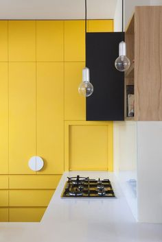 kitchens by Doherty design Studio Yellow Kitchen Chest of Drawers built into the Wall. Modern and contemporary kitchen design.Yellow Kitchen Chest of Drawers built into the Wall. Modern and contemporary kitchen design. Yellow Kitchen Decor, Rustic Kitchen, Diy Kitchen, Interior Desing, Interior Design Kitchen, Contemporary Kitchen Design, Contemporary Decor, Modern Design, Black Kitchens