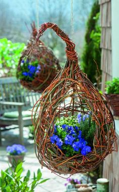 Make hanging baskets yourself: 3 simple ideas- Blumenampeln selber machen: 3 einfache Ideen Load the traffic lights with violets (viola cornuta), thyme and sage and pour some soil into the spaces, then water. Hang the traffic lights on a rope. Garden Crafts, Garden Projects, Container Plants, Container Gardening, Jardin Decor, Willow Weaving, Decoration Plante, Willow Branches, Deco Floral