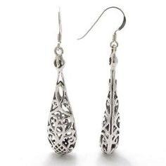 Sterling Silver Filigree Dangle Puffed Teardrop Earrings