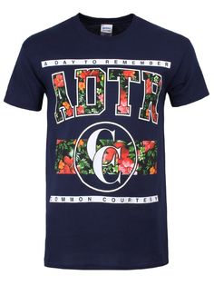 cc5c0869 A Day To Remember Floral Men's Navy T-Shirt. Adtr MerchBand ...